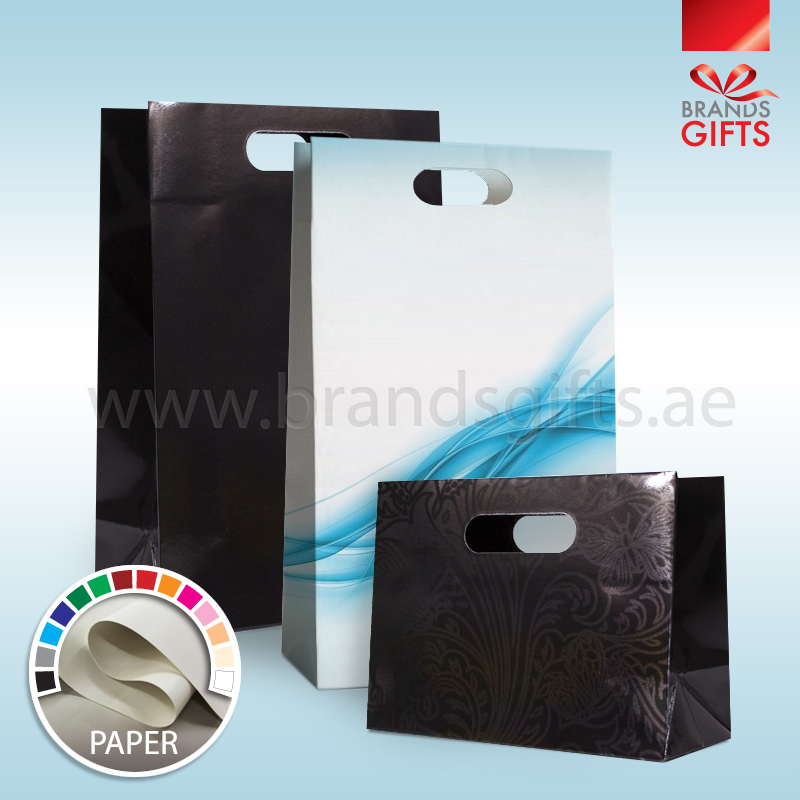 Custom Paper Bags With Die Cut Handel- Luxury Gift Bags - Shopping Bags - Carrier Bags All Sizes - brands gifts.ae